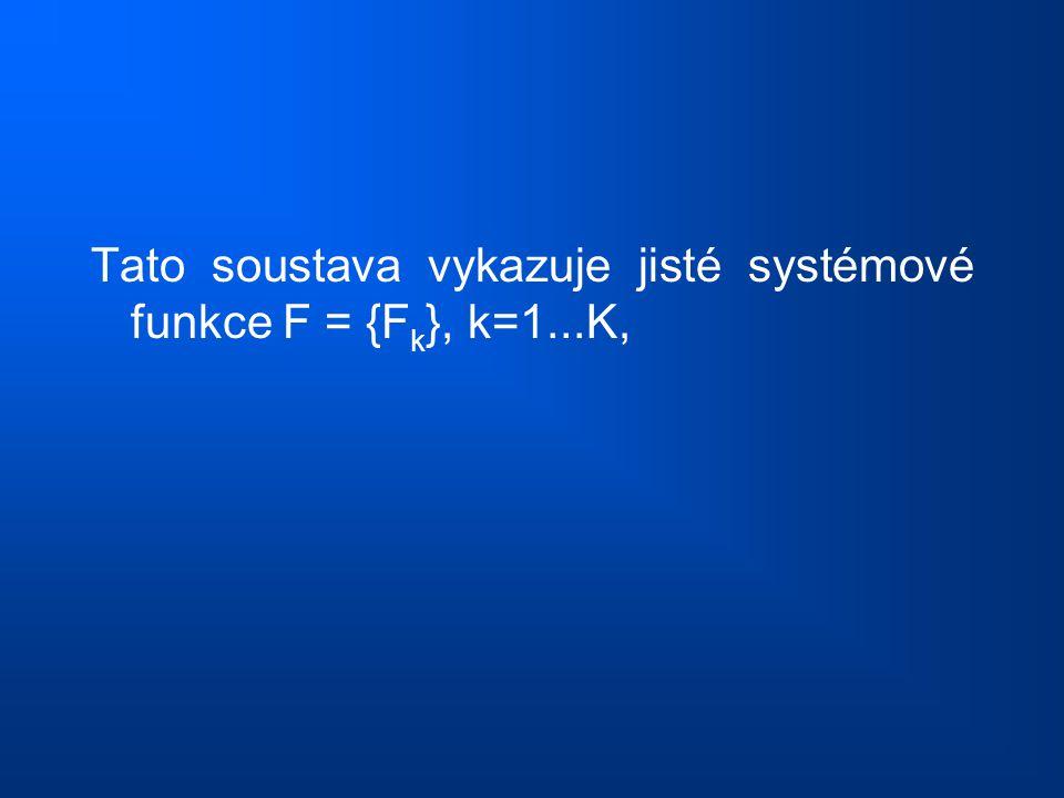 Tato soustava vykazuje jisté systémové funkce F = {F k }, k=1...K,