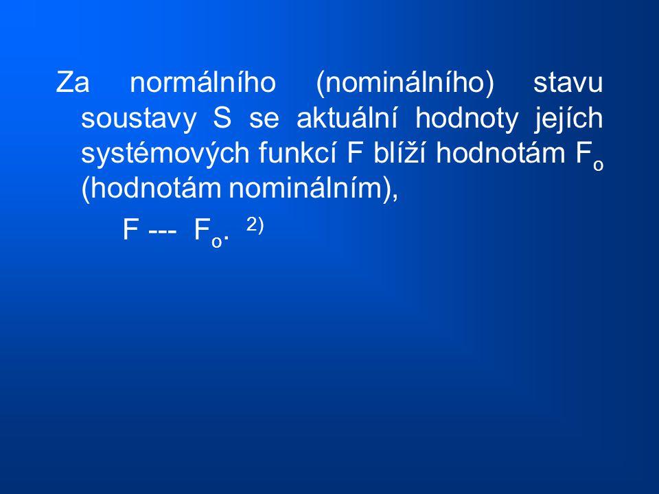 Za normálního (nominálního) stavu soustavy S se aktuální hodnoty jejích systémových funkcí F blíží hodnotám F o (hodnotám nominálním), F --- F o. 2)