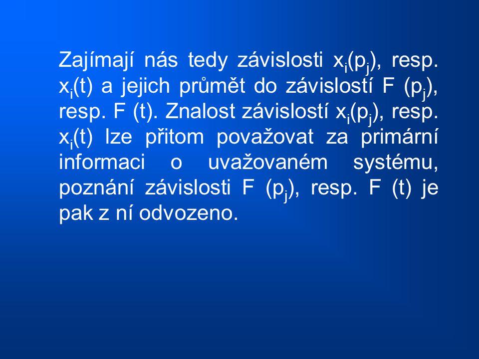 Zajímají nás tedy závislosti x i (p j ), resp. x i (t) a jejich průmět do závislostí F (p j ), resp. F (t). Znalost závislostí x i (p j ), resp. x i (