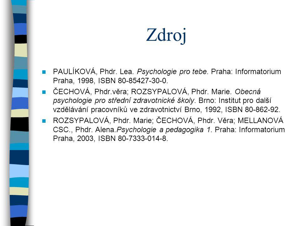 Zdroj PAULÍKOVÁ, Phdr. Lea. Psychologie pro tebe. Praha: Informatorium Praha, 1998, ISBN 80-85427-30-0. ČECHOVÁ, Phdr.věra; ROZSYPALOVÁ, Phdr. Marie.