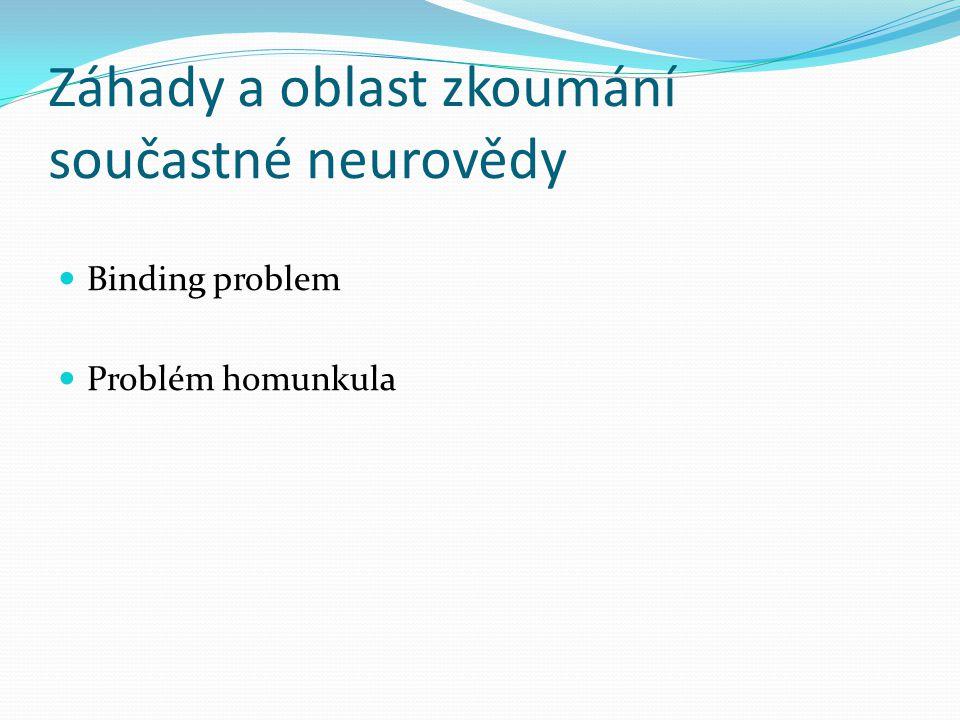 Záhady a oblast zkoumání součastné neurovědy Binding problem Problém homunkula