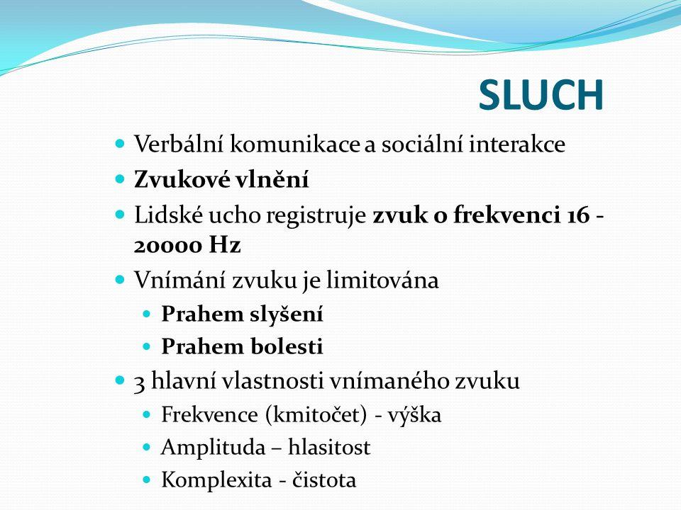 SLUCH Verbální komunikace a sociální interakce Zvukové vlnění Lidské ucho registruje zvuk o frekvenci 16 - 20000 Hz Vnímání zvuku je limitována Prahem
