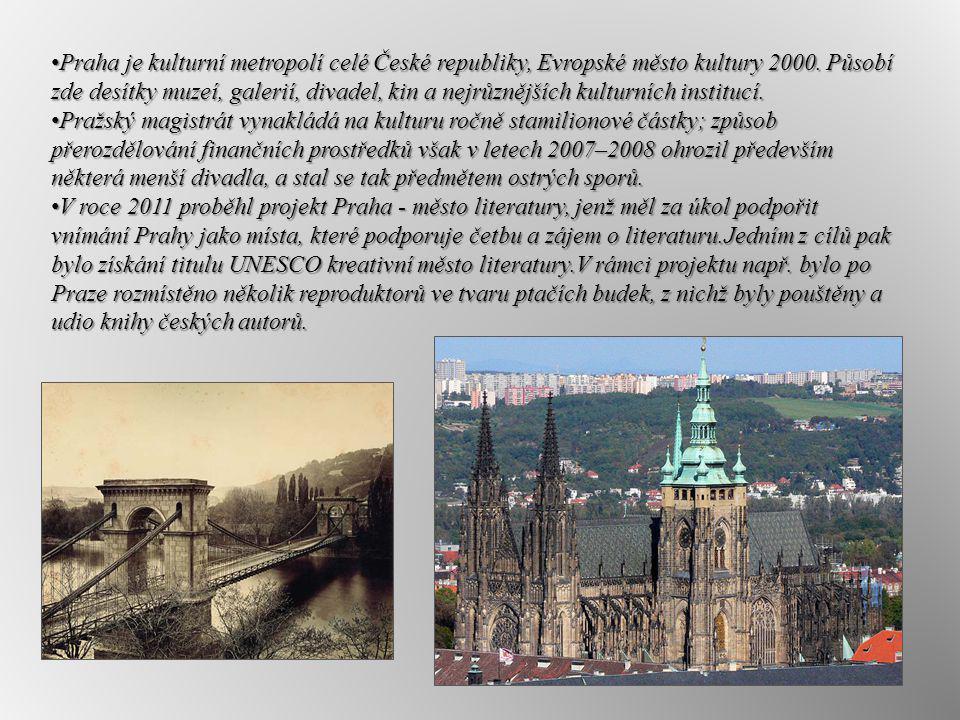 Praha je kulturní metropolí celé České republiky, Evropské město kultury 2000. Působí zde desítky muzeí, galerií, divadel, kin a nejrůznějších kulturn