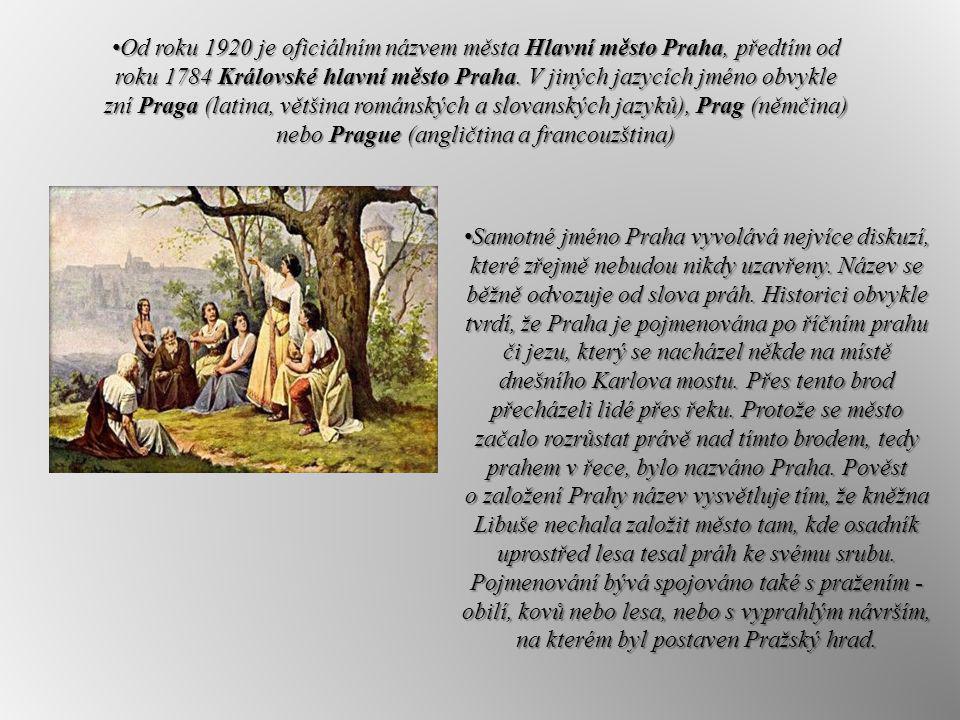 Od roku 1920 je oficiálním názvem města Hlavní město Praha, předtím od roku 1784 Královské hlavní město Praha. V jiných jazycích jméno obvykle zní Pra