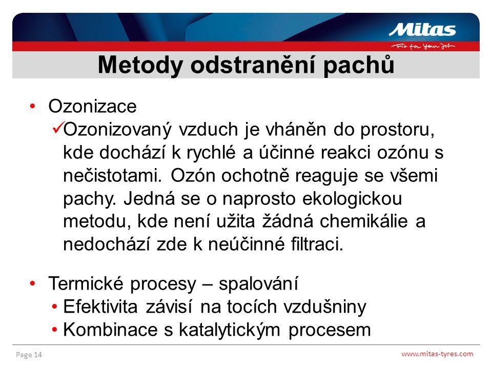 www.mitas-tyres.com Page 14 Ozonizace Ozonizovaný vzduch je vháněn do prostoru, kde dochází k rychlé a účinné reakci ozónu s nečistotami. Ozón ochotně