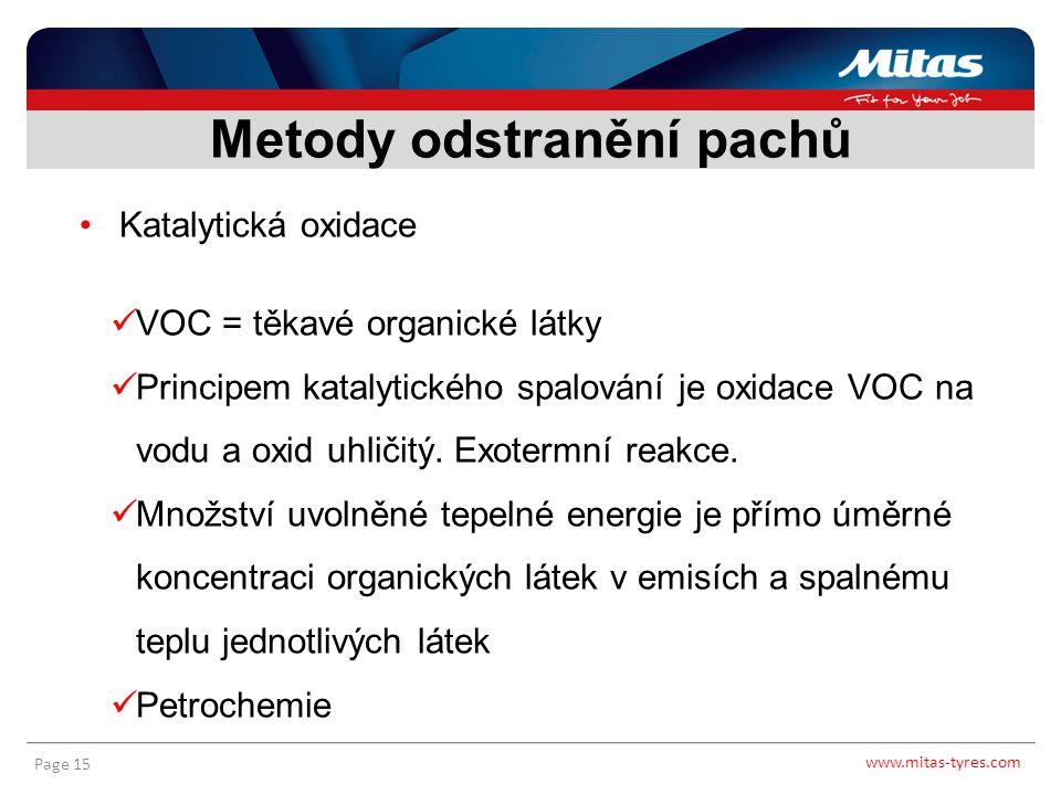 www.mitas-tyres.com Page 15 Katalytická oxidace VOC = těkavé organické látky Principem katalytického spalování je oxidace VOC na vodu a oxid uhličitý.