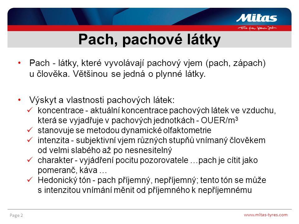www.mitas-tyres.com Page 3 Zápach v pneumatikárenském průmyslu pochází hlavně z procesu zpracování - míchání přírodního kaučuku Pachové látky provázející míchání směsí jsou přirozeným, z hygienického a zdravotního hlediska nezávadným průvodním jevem Uvolňují se štěpením bílkovin, které jsou obsaženy v přírodním kaučuku Pachové látky - Mitas