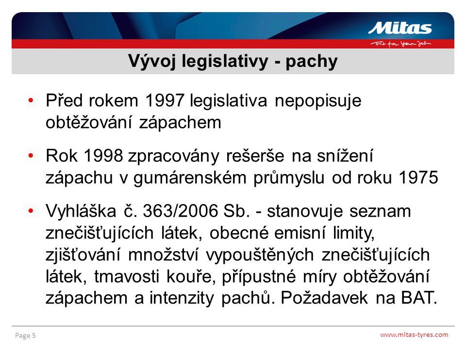 www.mitas-tyres.com Page 5 Před rokem 1997 legislativa nepopisuje obtěžování zápachem Rok 1998 zpracovány rešerše na snížení zápachu v gumárenském prů