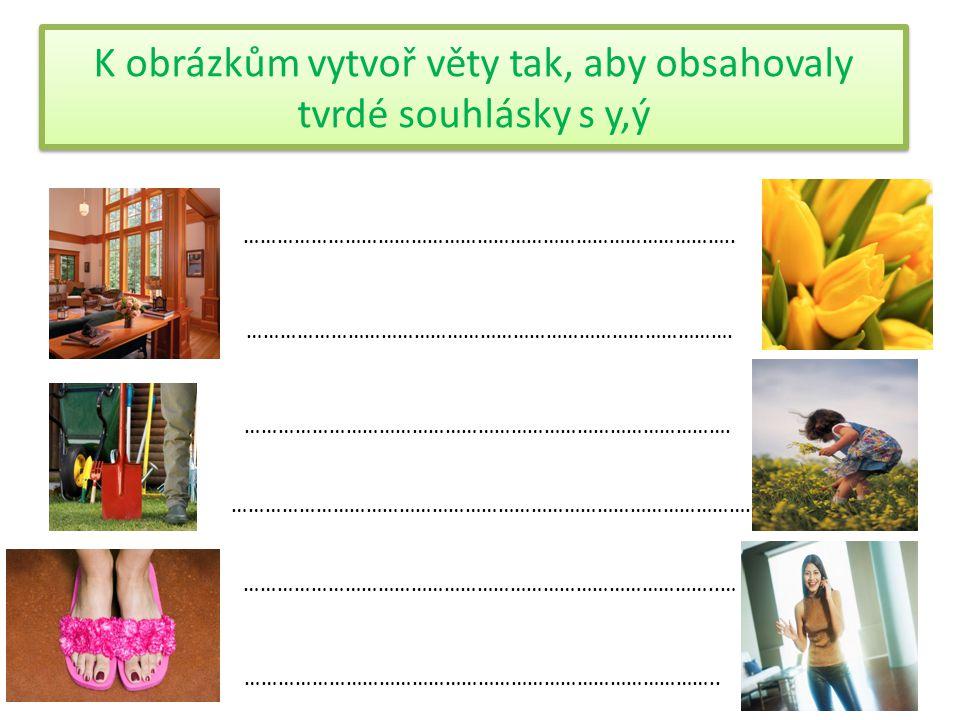 K obrázkům vytvoř věty tak, aby obsahovaly tvrdé souhlásky s y,ý ……………………………………………………………………………..