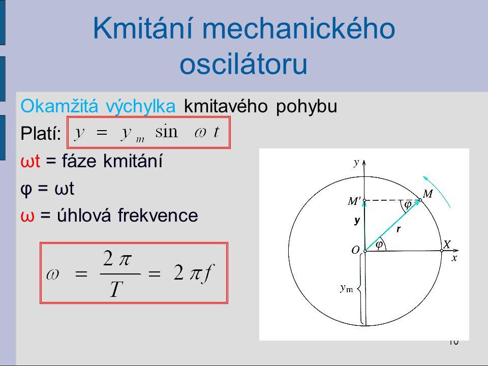 Kmitání mechanického oscilátoru Okamžitá výchylka kmitavého pohybu Platí: ωt = fáze kmitání φ = ωt ω = úhlová frekvence 10