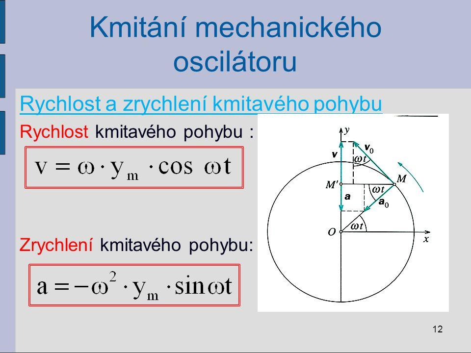 Kmitání mechanického oscilátoru Rychlost a zrychlení kmitavého pohybu Rychlost kmitavého pohybu : Zrychlení kmitavého pohybu: 12
