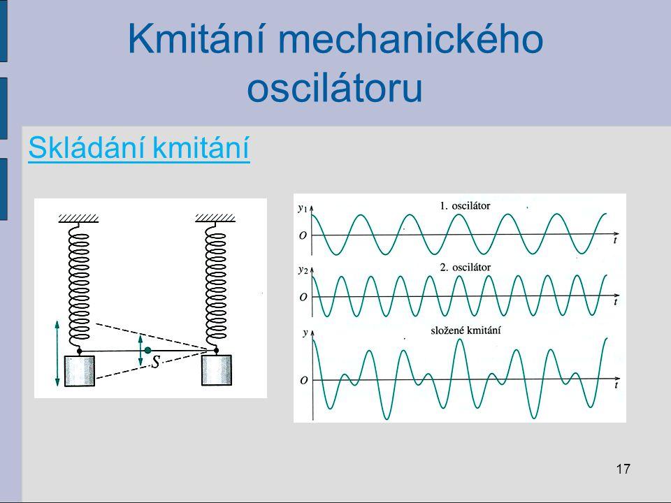 Kmitání mechanického oscilátoru Skládání kmitání 17