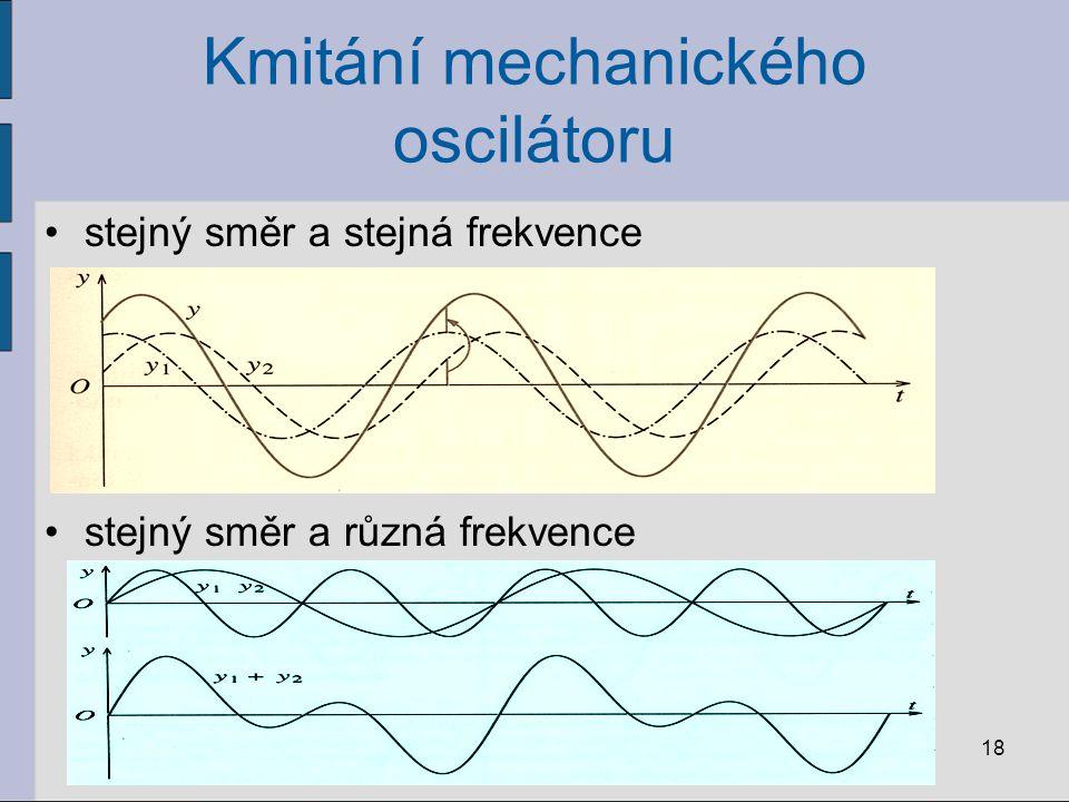 Kmitání mechanického oscilátoru stejný směr a stejná frekvence stejný směr a různá frekvence 18
