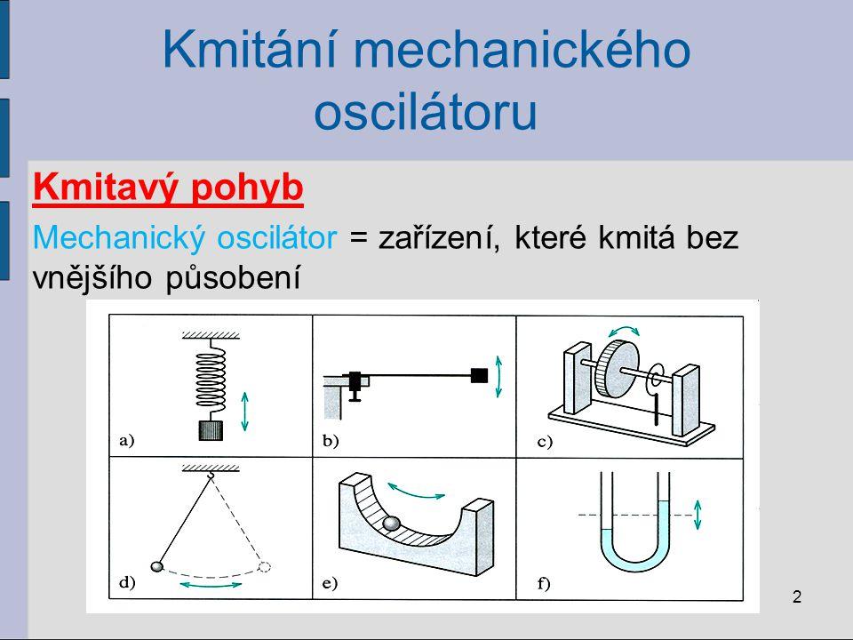 Kmitání mechanického oscilátoru Kmitavý pohyb Mechanický oscilátor = zařízení, které kmitá bez vnějšího působení 2