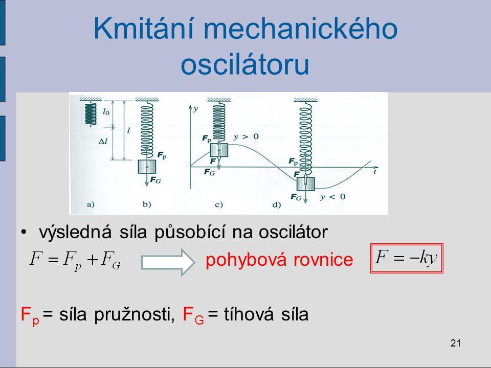 Kmitání mechanického oscilátoru výsledná síla působící na oscilátor pohybová rovnice F p = síla pružnosti, F G = tíhová síla 21