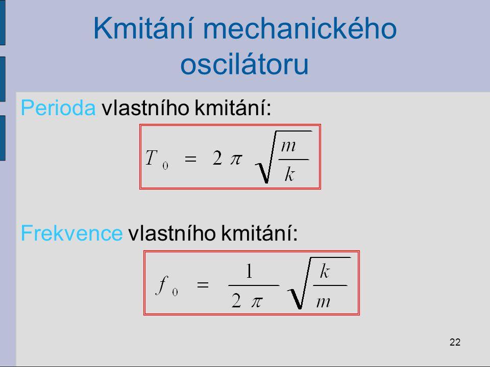 Kmitání mechanického oscilátoru 22 Perioda vlastního kmitání: Frekvence vlastního kmitání: