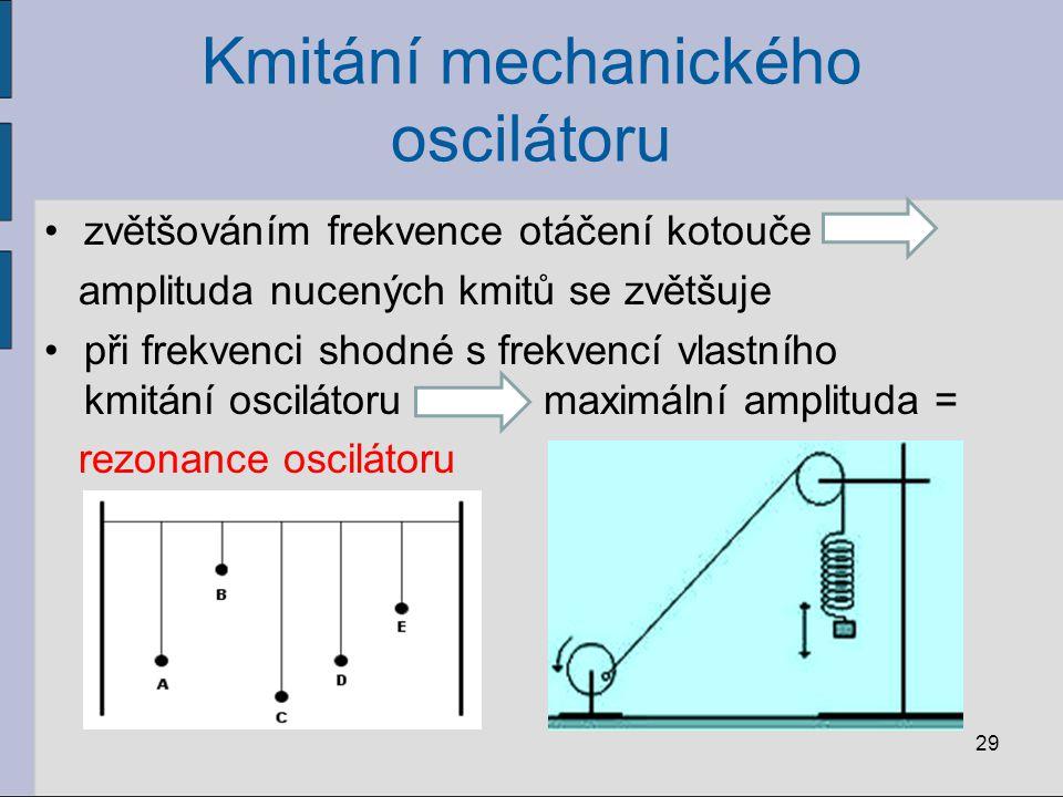 Kmitání mechanického oscilátoru zvětšováním frekvence otáčení kotouče amplituda nucených kmitů se zvětšuje při frekvenci shodné s frekvencí vlastního
