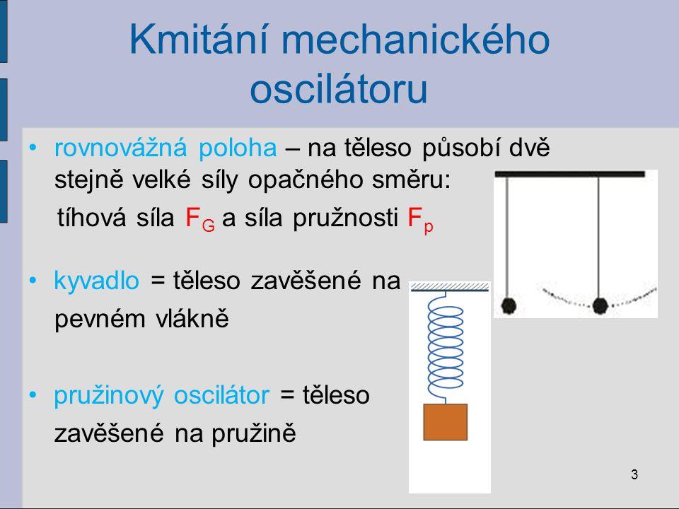 Kmitání mechanického oscilátoru rovnovážná poloha – na těleso působí dvě stejně velké síly opačného směru: tíhová síla F G a síla pružnosti F p kyvadl