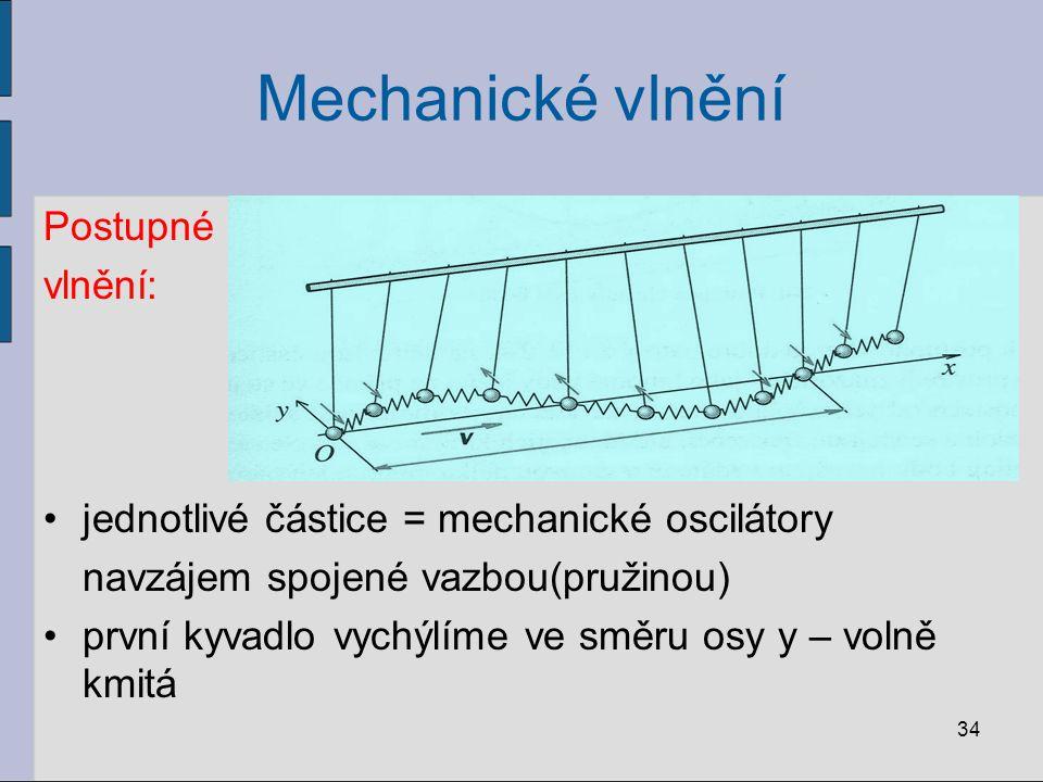 Mechanické vlnění Postupné vlnění: jednotlivé částice = mechanické oscilátory navzájem spojené vazbou(pružinou) první kyvadlo vychýlíme ve směru osy y