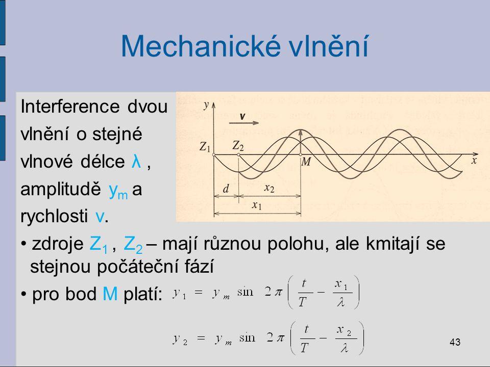 Mechanické vlnění Interference dvou vlnění o stejné vlnové délce λ, amplitudě y m a rychlosti v. zdroje Z 1, Z 2 – mají různou polohu, ale kmitají se