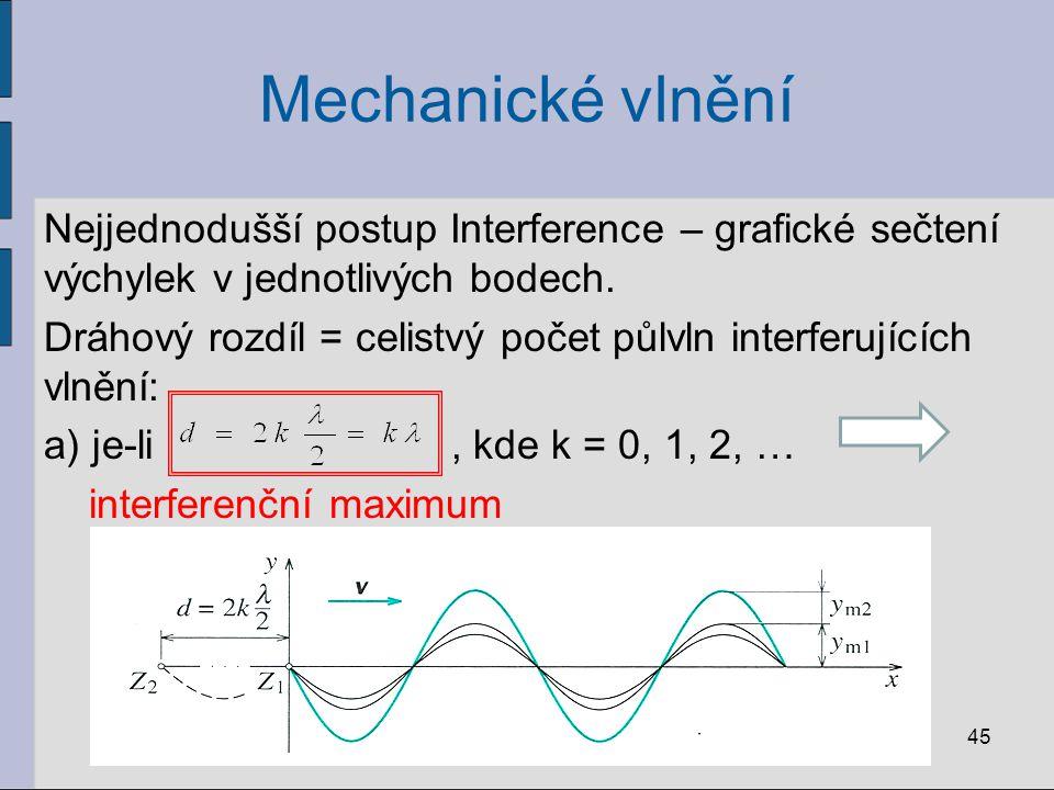 Mechanické vlnění Nejjednodušší postup Interference – grafické sečtení výchylek v jednotlivých bodech. Dráhový rozdíl = celistvý počet půlvln interfer