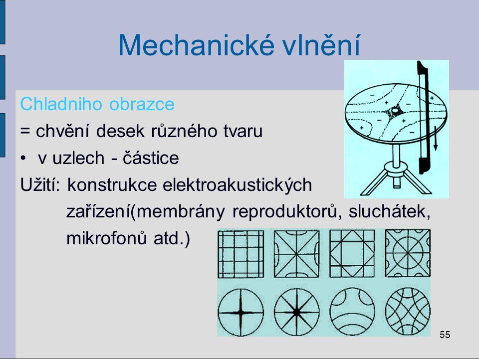 Mechanické vlnění Chladniho obrazce = chvění desek různého tvaru v uzlech - částice Užití: konstrukce elektroakustických zařízení(membrány reproduktor