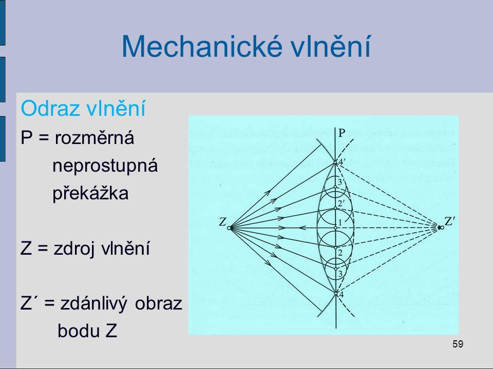 Mechanické vlnění Odraz vlnění P = rozměrná neprostupná překážka Z = zdroj vlnění Z´ = zdánlivý obraz bodu Z 59