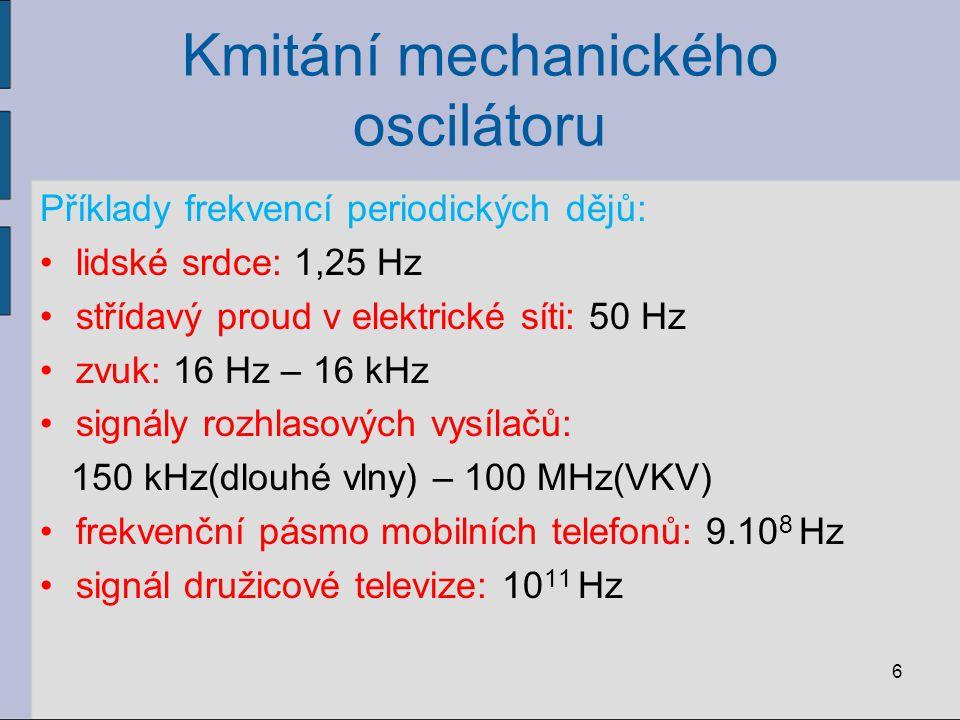 Kmitání mechanického oscilátoru Příklady frekvencí periodických dějů: lidské srdce: 1,25 Hz střídavý proud v elektrické síti: 50 Hz zvuk: 16 Hz – 16 k