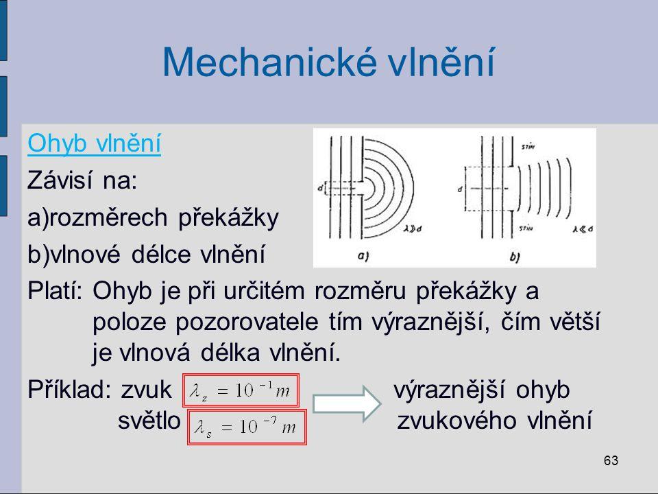 Mechanické vlnění Ohyb vlnění Závisí na: a)rozměrech překážky b)vlnové délce vlnění Platí: Ohyb je při určitém rozměru překážky a poloze pozorovatele