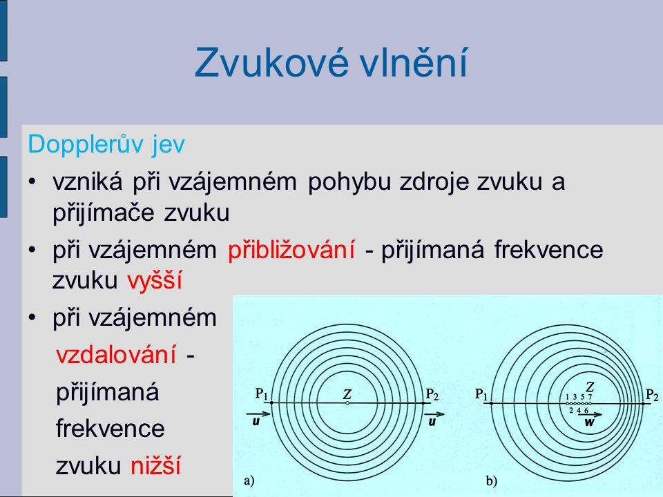 Zvukové vlnění Dopplerův jev vzniká při vzájemném pohybu zdroje zvuku a přijímače zvuku při vzájemném přibližování - přijímaná frekvence zvuku vyšší p