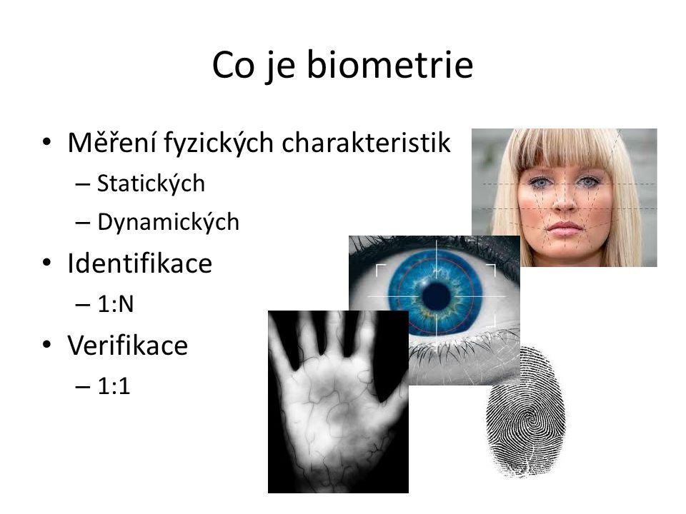 Co je biometrie Měření fyzických charakteristik – Statických – Dynamických Identifikace – 1:N Verifikace – 1:1