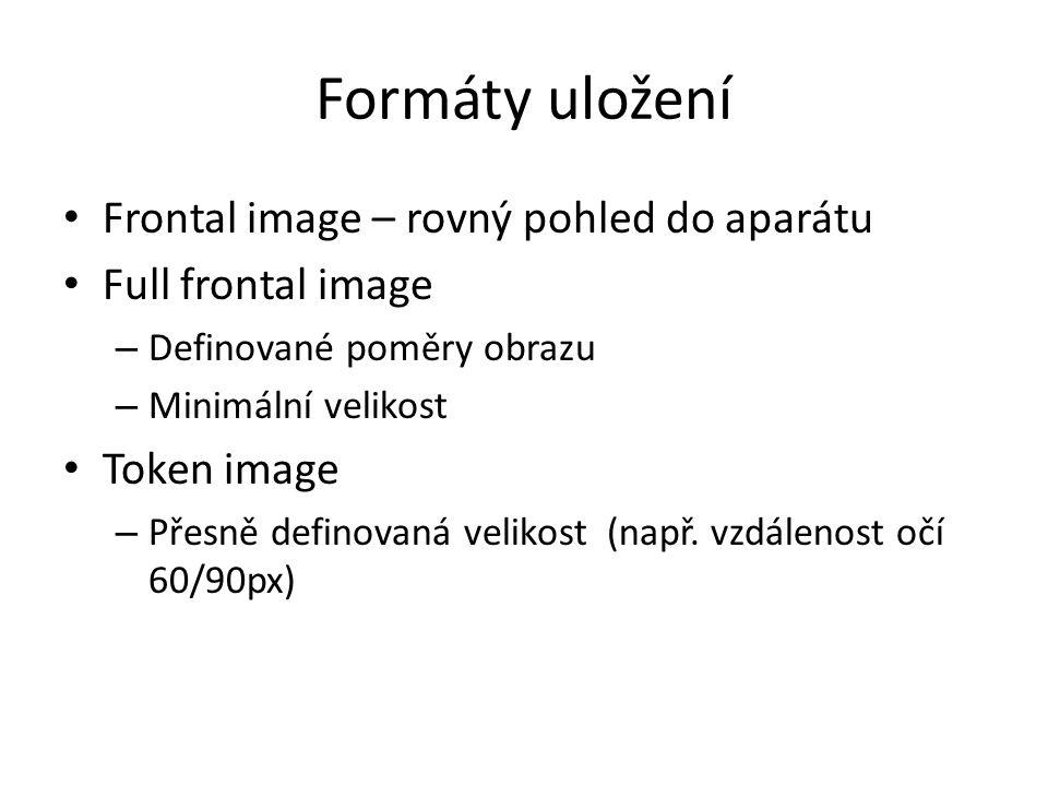 Formáty uložení Frontal image – rovný pohled do aparátu Full frontal image – Definované poměry obrazu – Minimální velikost Token image – Přesně definovaná velikost (např.