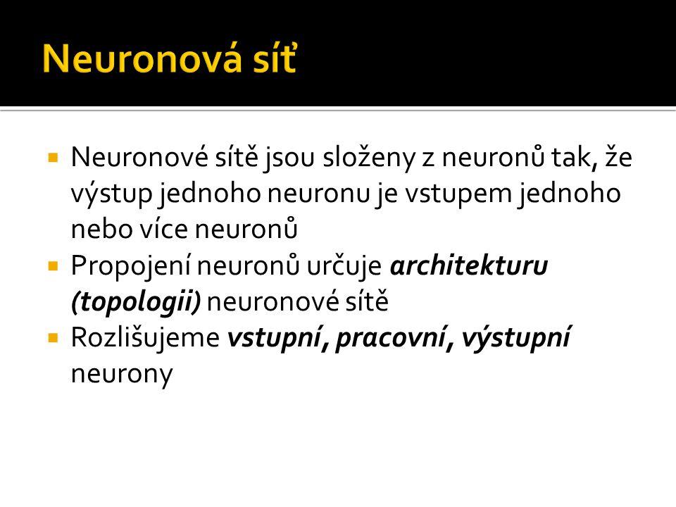  Neuronové sítě jsou složeny z neuronů tak, že výstup jednoho neuronu je vstupem jednoho nebo více neuronů  Propojení neuronů určuje architekturu (t