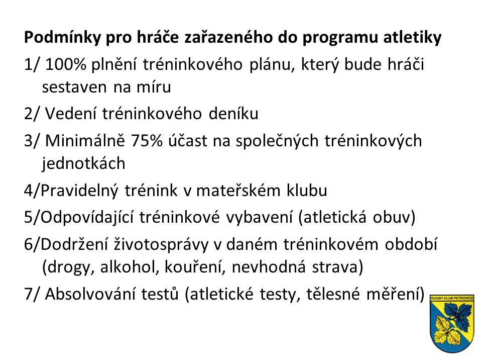 Podmínky pro hráče zařazeného do programu atletiky 1/ 100% plnění tréninkového plánu, který bude hráči sestaven na míru 2/ Vedení tréninkového deníku 3/ Minimálně 75% účast na společných tréninkových jednotkách 4/Pravidelný trénink v mateřském klubu 5/Odpovídající tréninkové vybavení (atletická obuv) 6/Dodržení životosprávy v daném tréninkovém období (drogy, alkohol, kouření, nevhodná strava) 7/ Absolvování testů (atletické testy, tělesné měření)