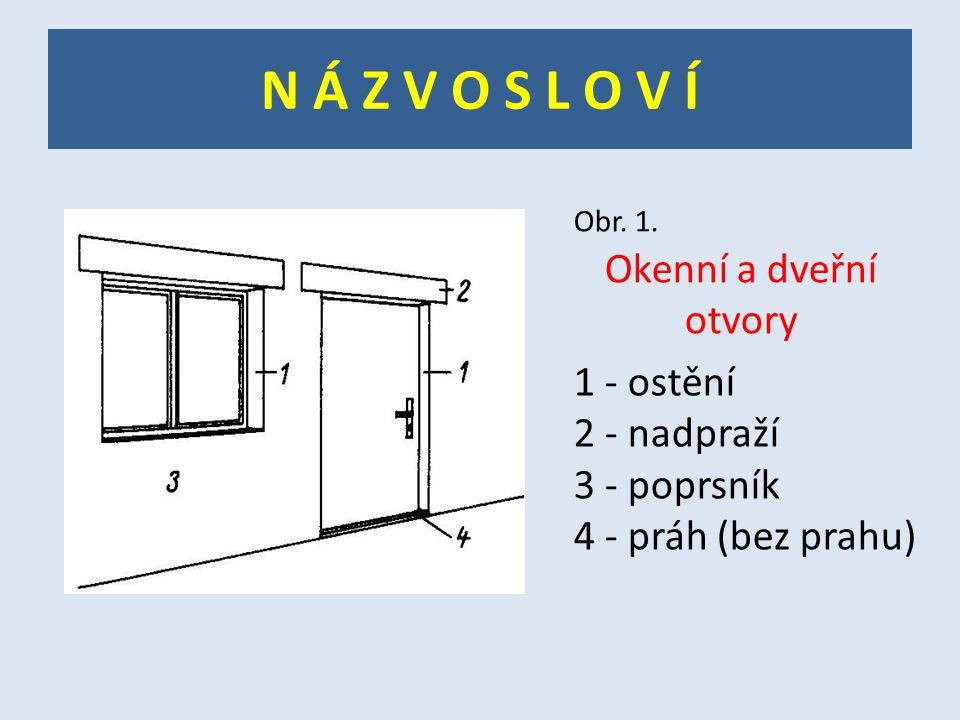 N Á Z V O S L O V Í Obr. 1. Okenní a dveřní otvory 1 - ostění 2 - nadpraží 3 - poprsník 4 - práh (bez prahu)