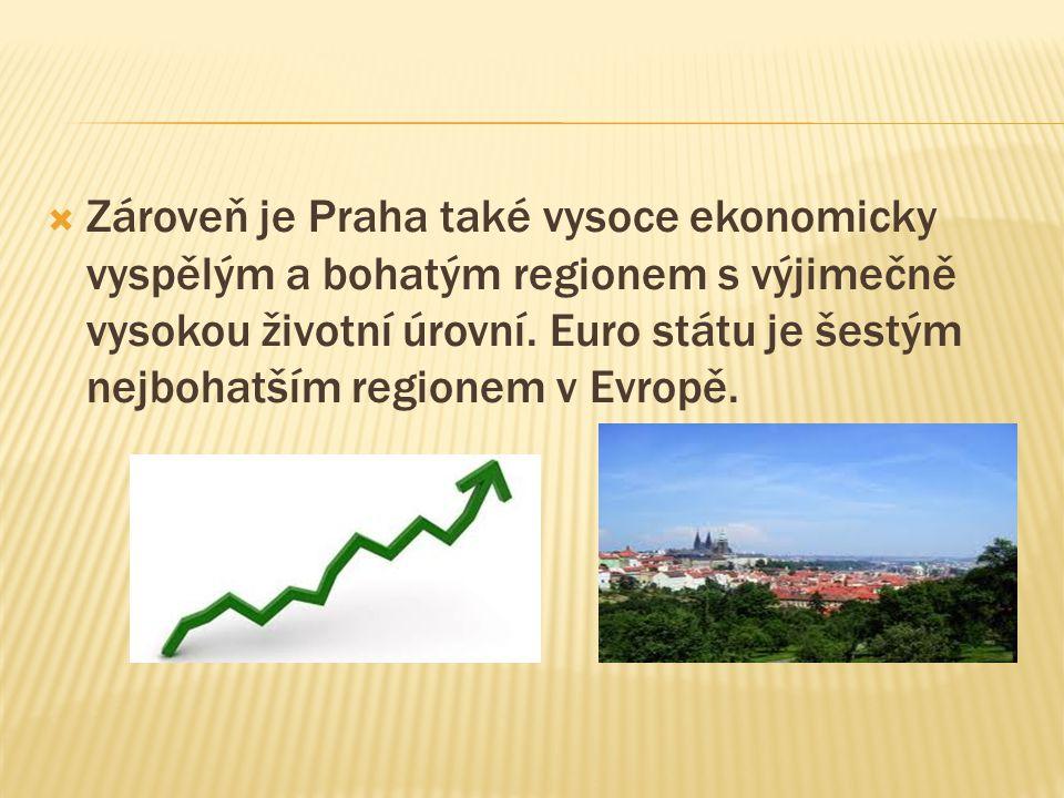  Zároveň je Praha také vysoce ekonomicky vyspělým a bohatým regionem s výjimečně vysokou životní úrovní. Euro státu je šestým nejbohatším regionem v