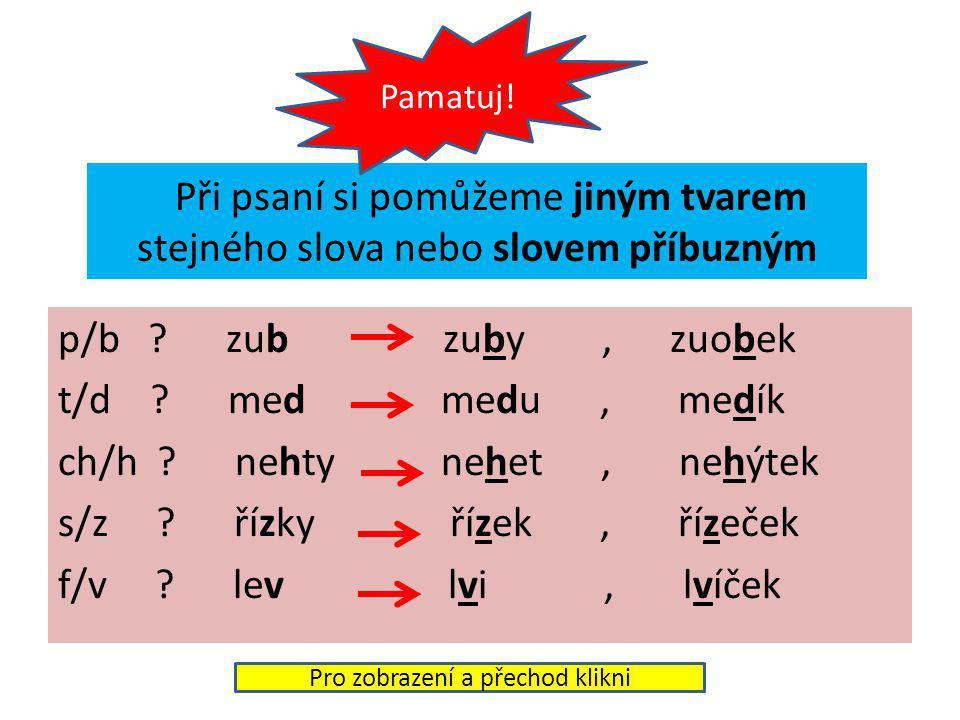 Při psaní si pomůžeme jiným tvarem stejného slova nebo slovem příbuzným p/b .