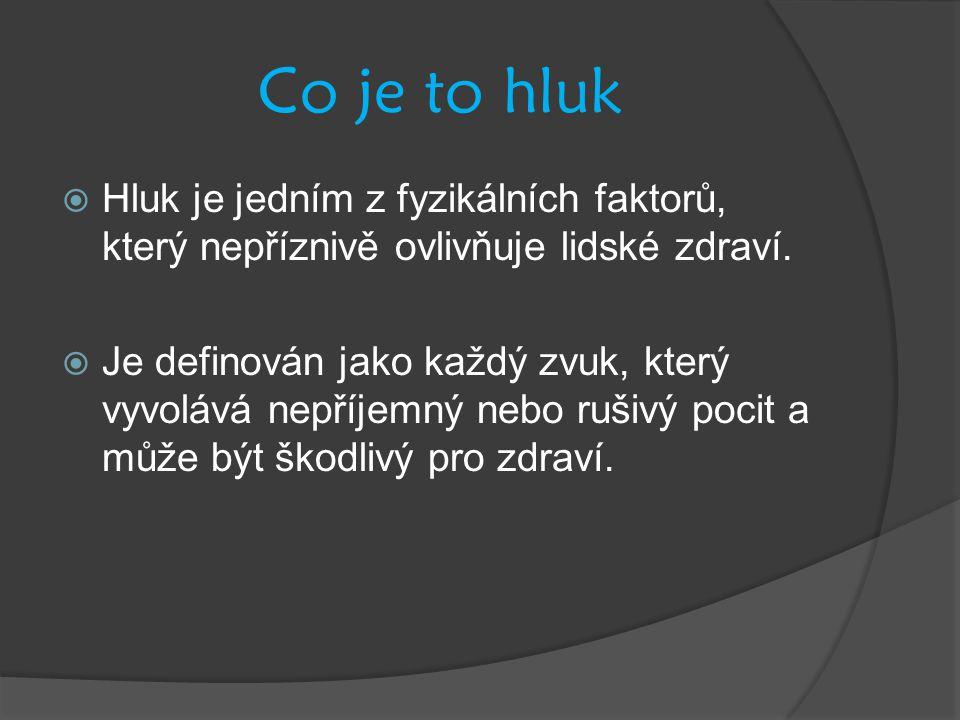 Co je to hluk  Hluk je jedním z fyzikálních faktorů, který nepříznivě ovlivňuje lidské zdraví.  Je definován jako každý zvuk, který vyvolává nepříje