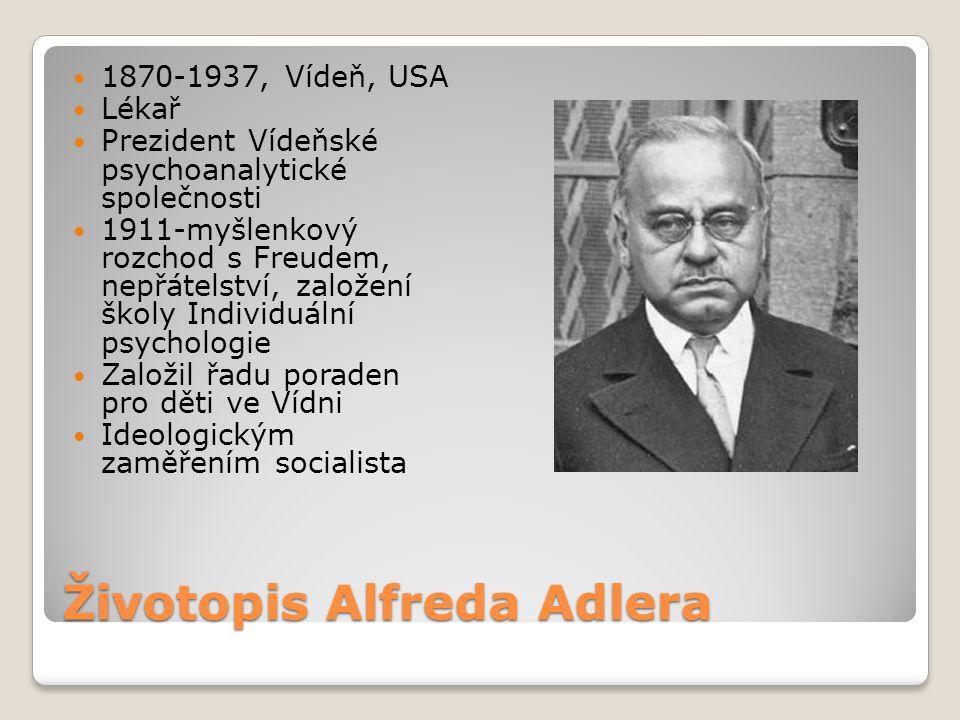 Životopis Alfreda Adlera 1870-1937, Vídeň, USA Lékař Prezident Vídeňské psychoanalytické společnosti 1911-myšlenkový rozchod s Freudem, nepřátelství,