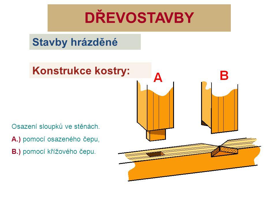 DŘEVOSTAVBY Osazení sloupků ve stěnách. A.) pomocí osazeného čepu, B.) pomocí křížového čepu. Stavby hrázděné Konstrukce kostry:
