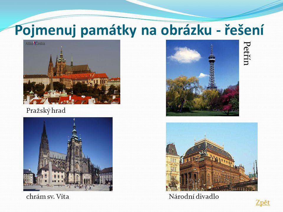 Pojmenuj památky na obrázku - řešení Pražský hrad chrám sv. VítaNárodní divadlo Petřín Zpět