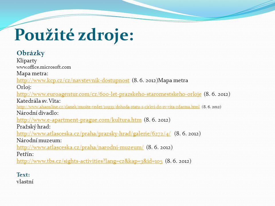 Použité zdroje: Obrázky Kliparty www.office.microsoft.com Mapa metra: http://www.kcp.cz/cz/navstevnik-dostupnosthttp://www.kcp.cz/cz/navstevnik-dostup