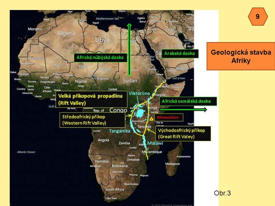 Obr.3 9 Geologická stavba Afriky