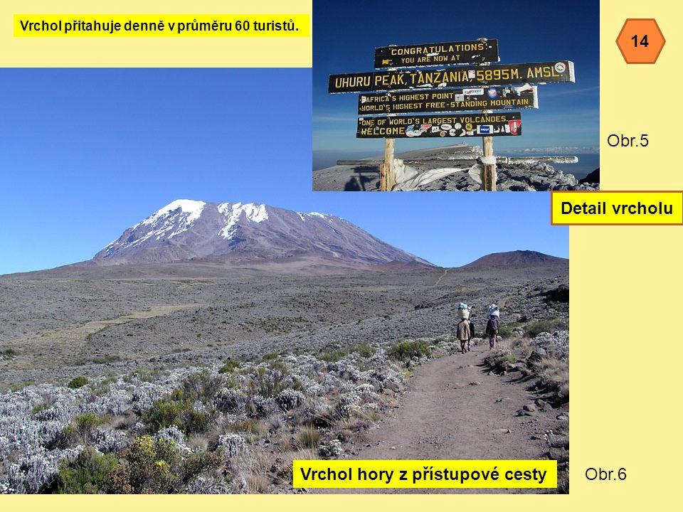 Obr.5 Obr.6Vrchol hory z přístupové cesty Vrchol přitahuje denně v průměru 60 turistů.