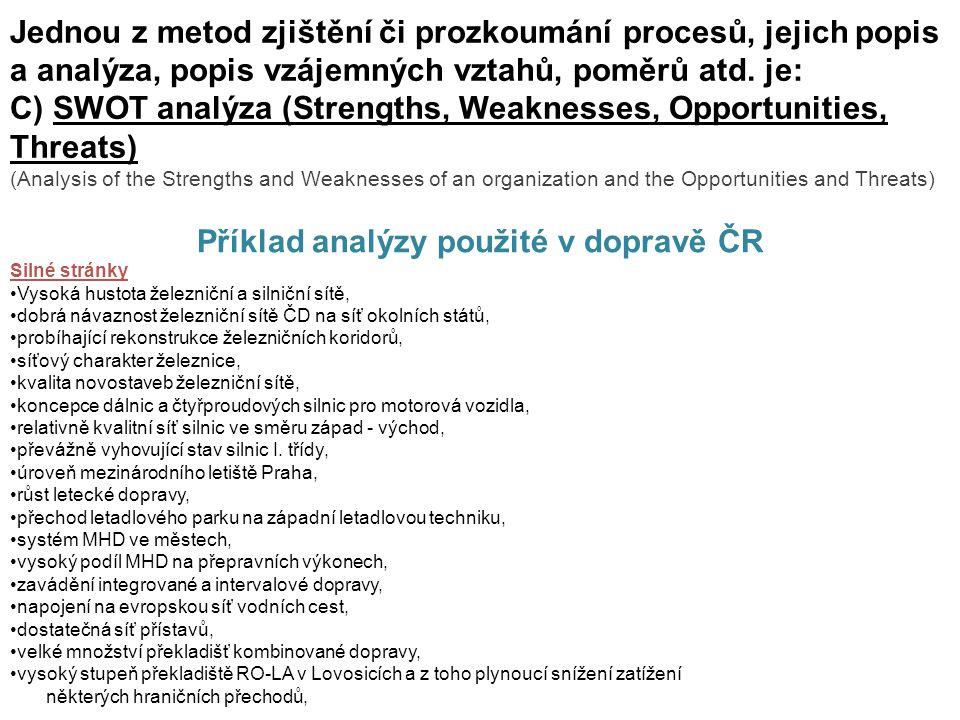 Jednou z metod zjištění či prozkoumání procesů, jejich popis a analýza, popis vzájemných vztahů, poměrů atd. je: C) SWOT analýza (Strengths, Weaknesse