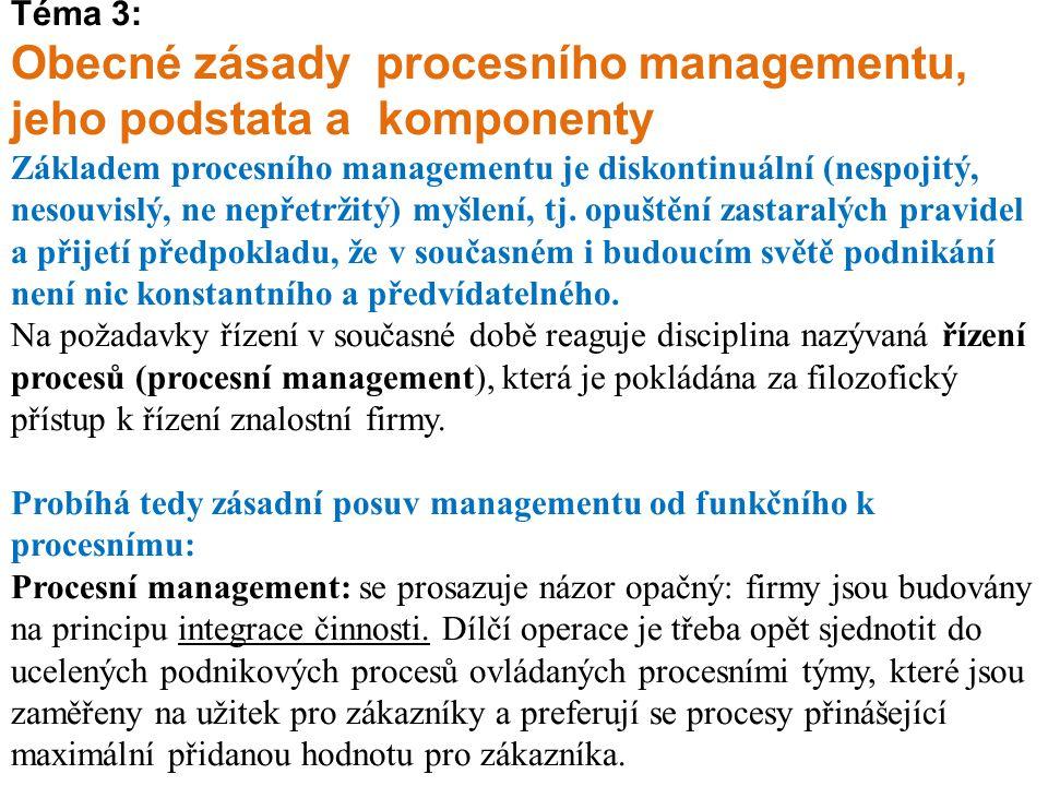 Téma 3: Obecné zásady procesního managementu, jeho podstata a komponenty Základem procesního managementu je diskontinuální (nespojitý, nesouvislý, ne