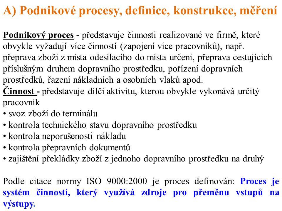 A) Podnikové procesy, definice, konstrukce, měření Podnikový proces - představuje činnosti realizované ve firmě, které obvykle vyžadují více činností