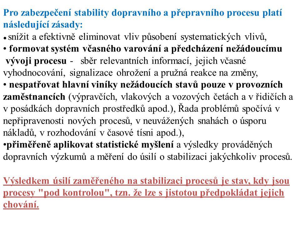 Pro zabezpečení stability dopravního a přepravního procesu platí následující zásady: ● snížit a efektivně eliminovat vliv působení systematických vliv