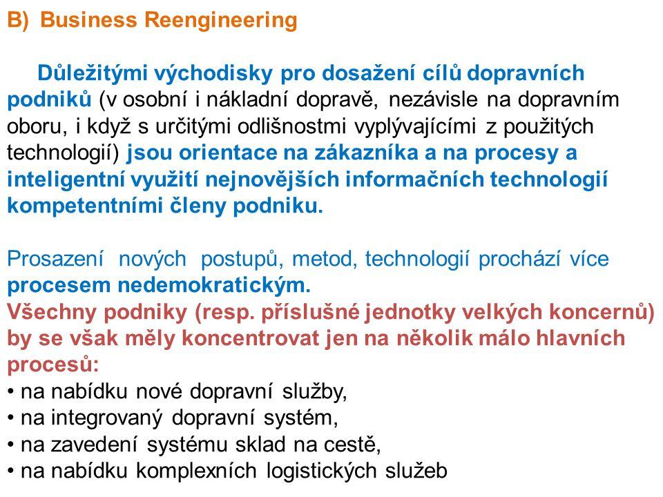 B)Business Reengineering Důležitými východisky pro dosažení cílů dopravních podniků (v osobní i nákladní dopravě, nezávisle na dopravním oboru, i když