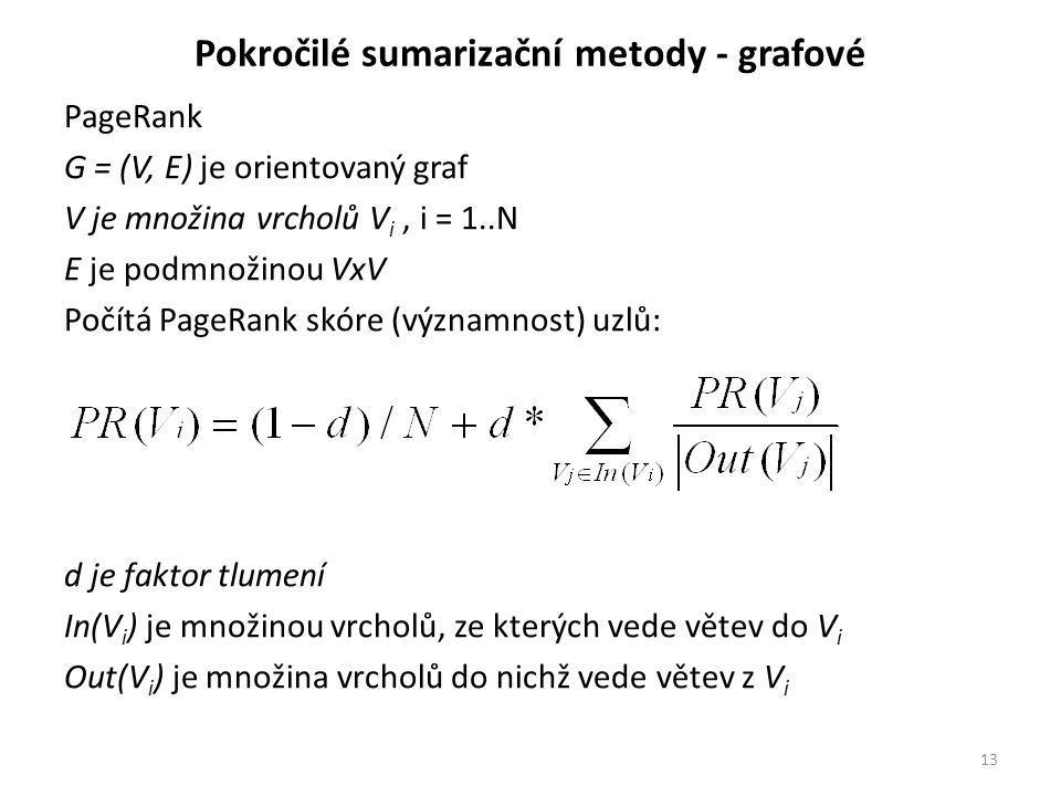 Pokročilé sumarizační metody - grafové PageRank G = (V, E) je orientovaný graf V je množina vrcholů V i, i = 1..N E je podmnožinou VxV Počítá PageRank skóre (významnost) uzlů: d je faktor tlumení In(V i ) je množinou vrcholů, ze kterých vede větev do V i Out(V i ) je množina vrcholů do nichž vede větev z V i 13